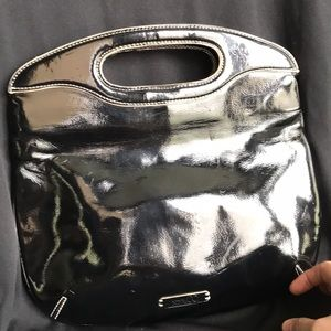 Black Patten leather clutch
